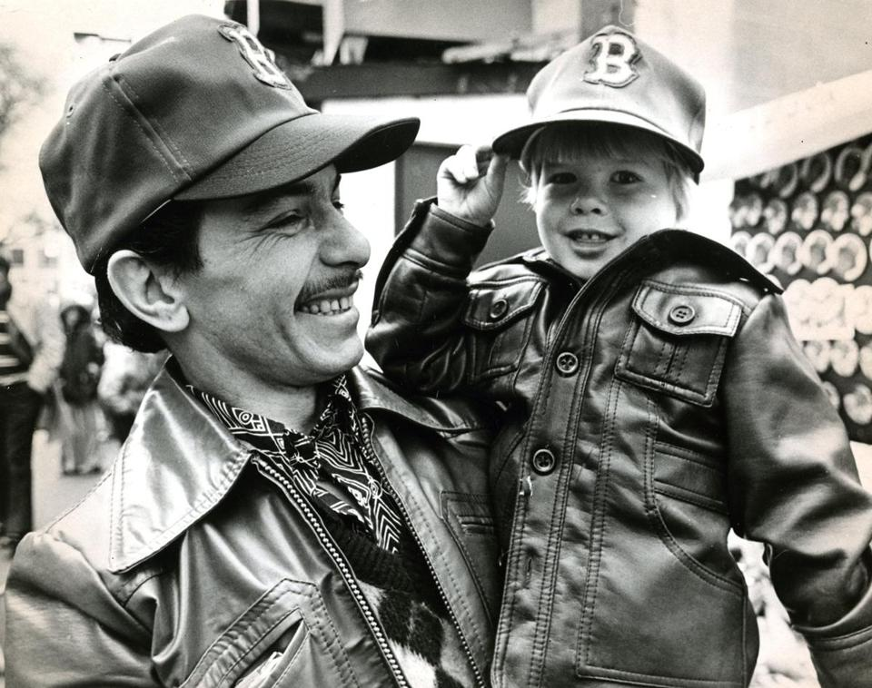 April 5, 1979: Harold Campbell and his son Nicholas, 4, of Quincy showed off their caps on the way to the home opener at Fenway.